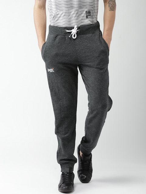 Superdry Men Charcoal Grey Solid Joggers