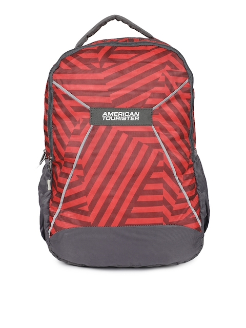 AMERICAN TOURISTER Unisex Red & Grey Backpack