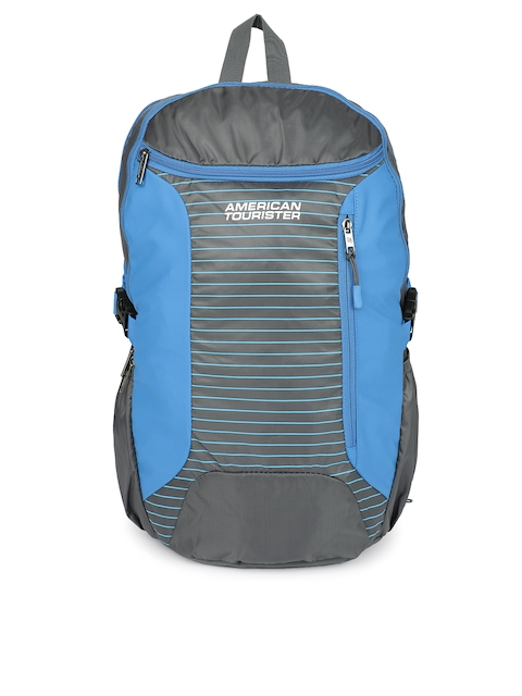 AMERICAN TOURISTER Unisex Grey & Blue Colourblocked Backpack