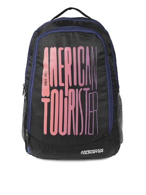 2ecf0173ab1 24%off AMERICAN TOURISTER Unisex Black Brand Logo Print Backpack