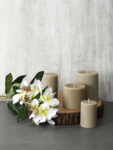 Pure Home and Living Set Of 2 Beige Candles