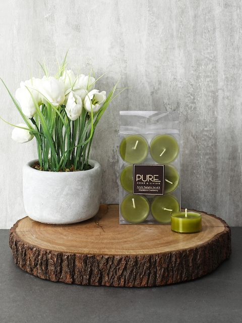 Pure Home and Living Set Of 3 Green Candles