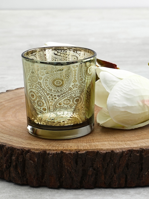 Pure Home and Living Set of 4 Green Paisley Print Candle Holders