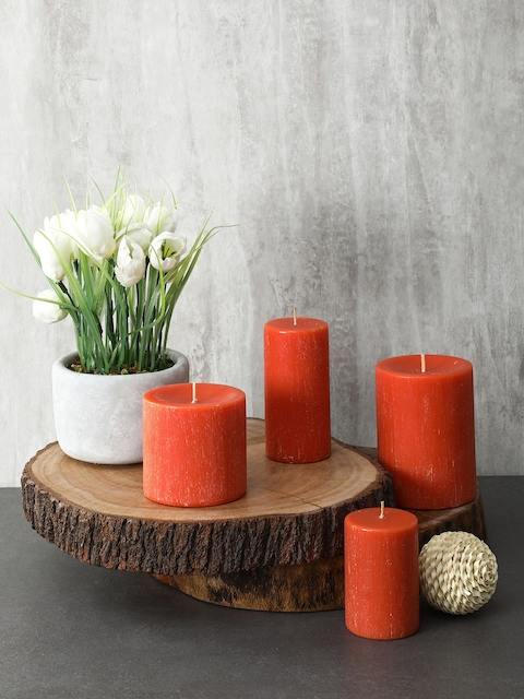 Pure Home and Living Set Of 2 Orange Candles
