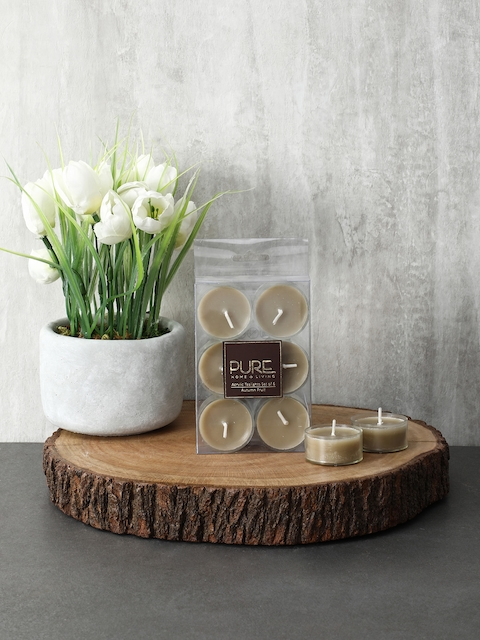Pure Home and Living Set Of 3 Beige Candles