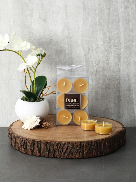 Pure Home and Living Set Of 3 Mustard Candles