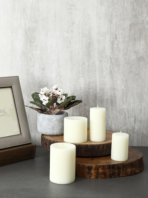 Pure Home and Living Set Of 2 White Candles