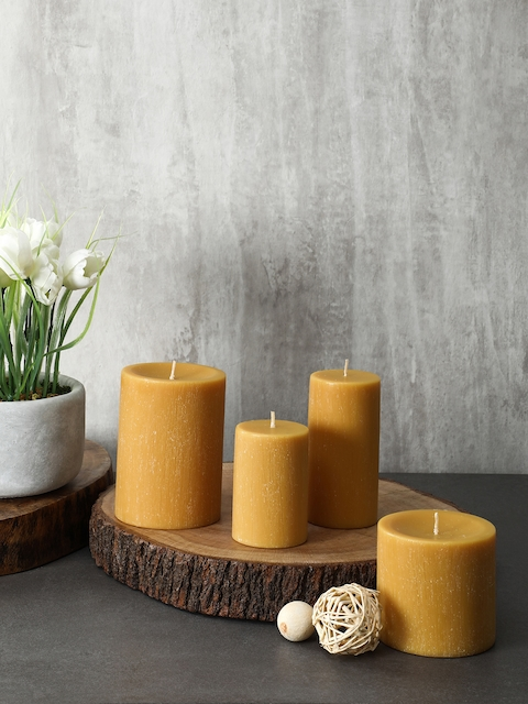 Pure Home and Living Set Of 2 Mustard Yellow Candles
