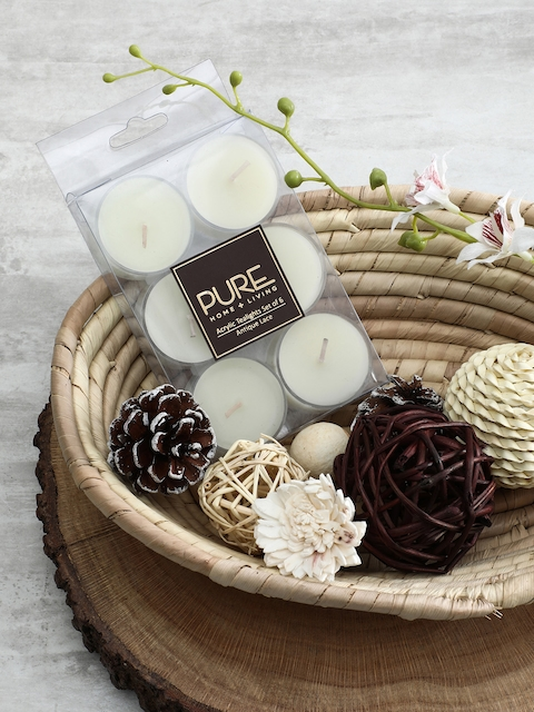 Pure Home and Living Set Of 3 White Candles