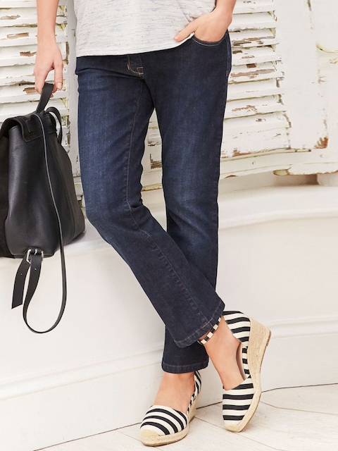 next Women Navy Blue Straight Fit Mid-Rise Clean Look Stretchable Maternity Jeans