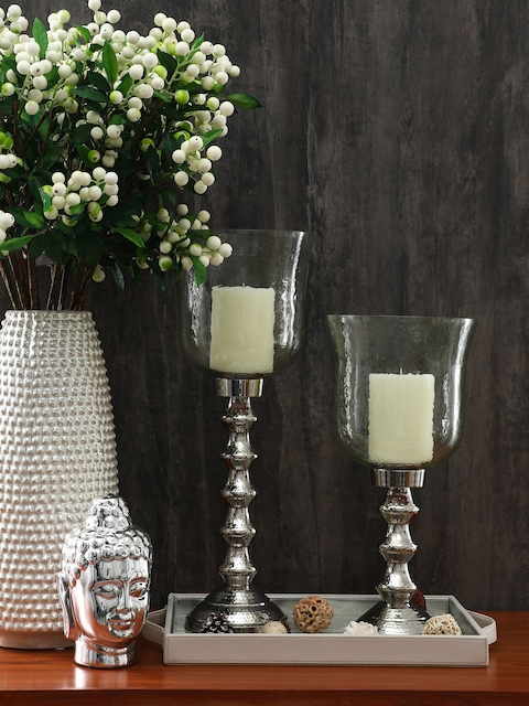 Pure Home and Living Green & Silver-Toned Textured Candle Holder
