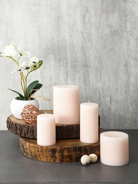 Pure Home and Living Set of 2 Pink Tall Sand Vanilla Pillar Candle