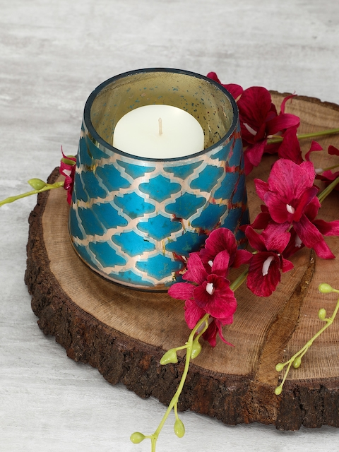 Pure Home and Living Set of 4 Blue Moroccan Pattern Candle Holder