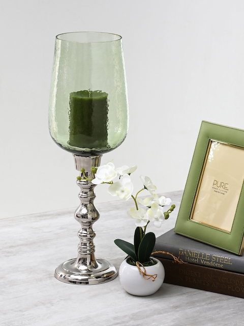 Pure Home and Living Green Textured Candle Holder
