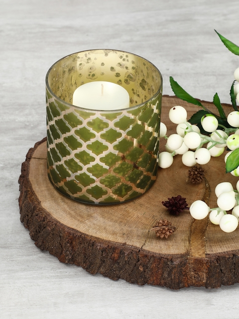 Pure Home and Living Set of 4 Green Moroccan Pattern Candle Holders