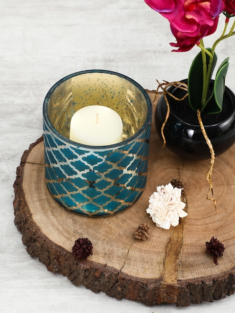 Pure Home and Living Set of 4 Blue Moroccan Pattern Candle Holders