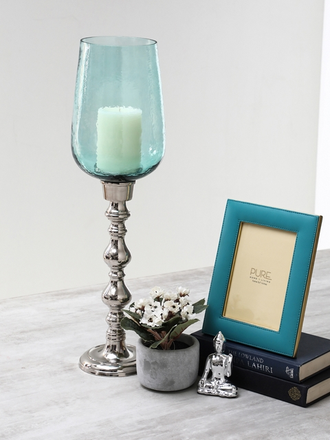 Pure Home and Living Blue Textured Candle Holder