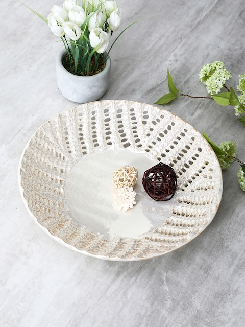 Pure Home and Living Off White Perforated Modern Bowl