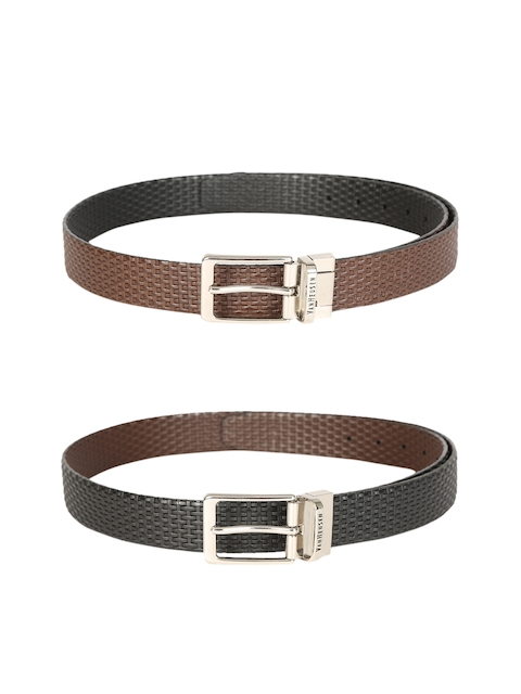 Van Heusen Men Brown & Black Textured Pack Of Two Leather Belt