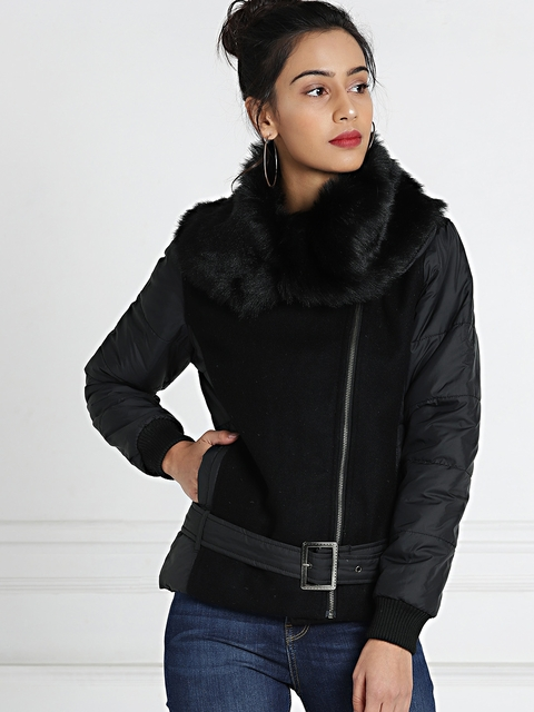 all about you from Deepika Padukone Black Biker Jacket with Faux-Fur