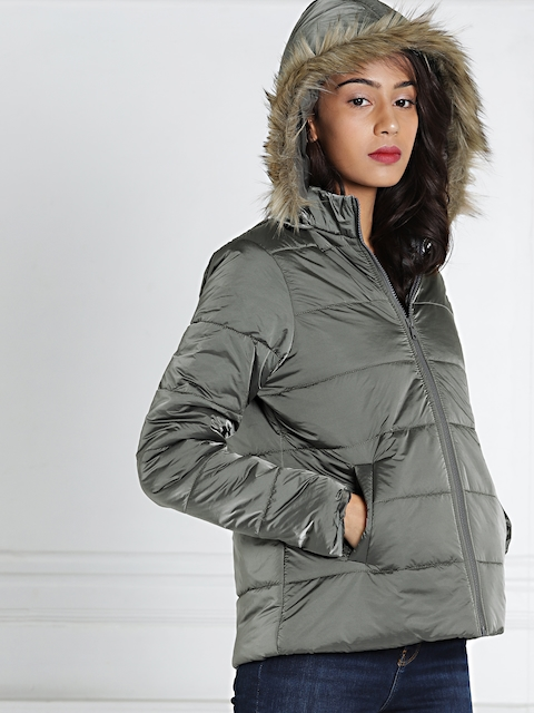 all about you from Deepika Padukone Grey Hooded & Padded Parka Jacket