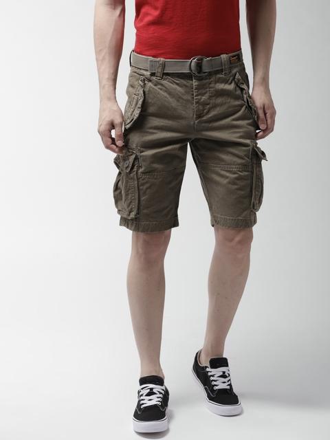 Superdry Men Olive Green Solid Regular Fit Cargo Shorts
