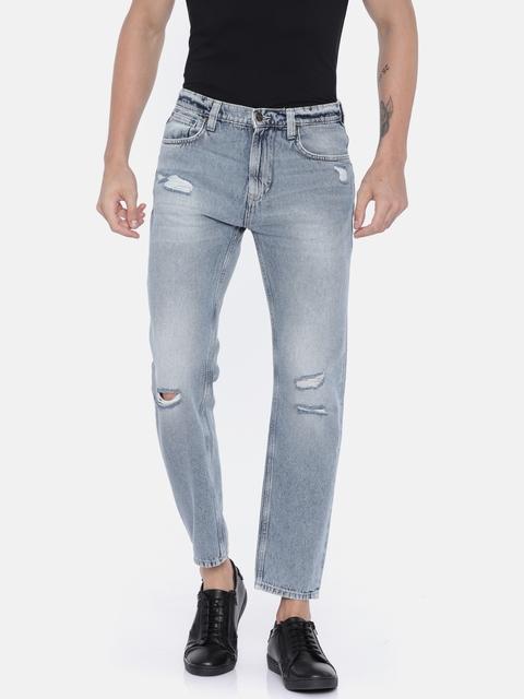 Lee Men Blue Slim Fit Mid-Rise Mildly Distressed Jeans
