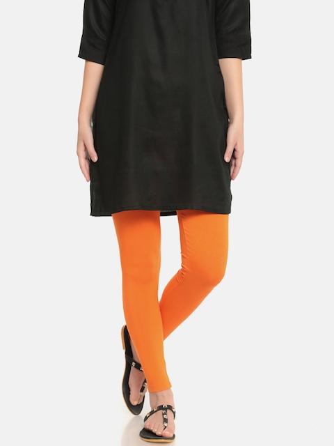 De Moza Women Orange Ankle-Length Leggings