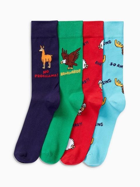 next Men Pack Of 4 Printed Socks