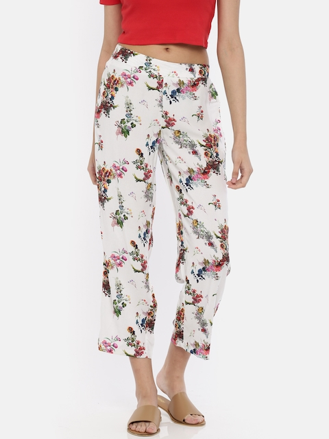 Melange by Lifestyle Women Off-White Regular Fit Printed Regular Trousers