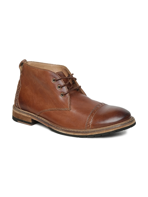 Clarks Men Tan Solid Leather Mid-Top Flat Boots