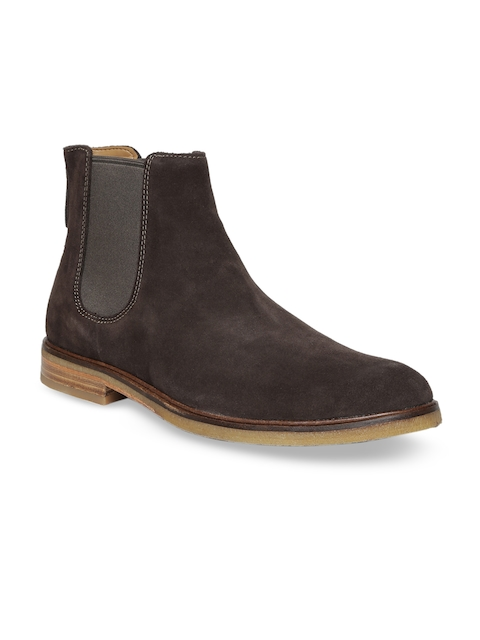 Clarks Men Brown Solid Suede Mid-Top Flat Boots