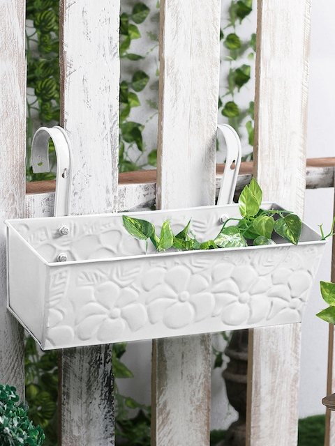 green girgit White Metal Embossed Rectangular Pot Planter
