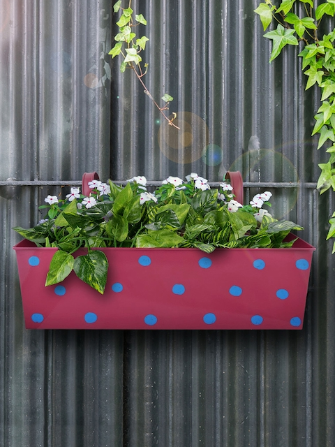 green girgit Pink & Blue Metal Polka Dot Printed Rectangular Planter