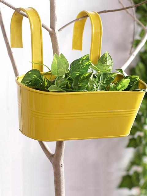 green girgit Yellow Metal Oval Railing Planter