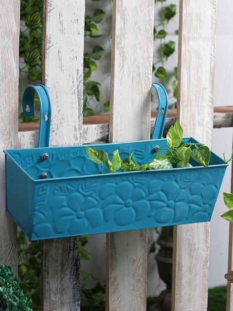 green girgit Blue Metal Embossed Rectabgular Pot Planter
