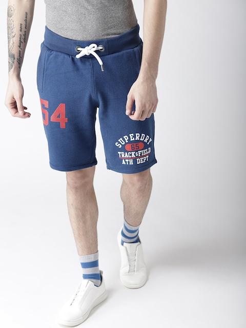 Superdry Men Blue Printed Regular Fit Regular Shorts