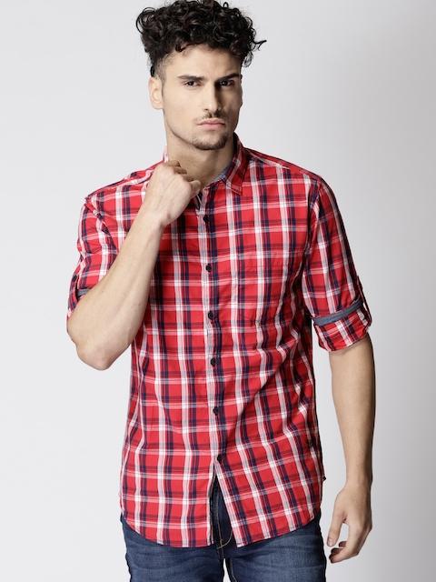 Ecko Unltd Men Red & Navy Blue Slim Fit Checked Casual Shirt