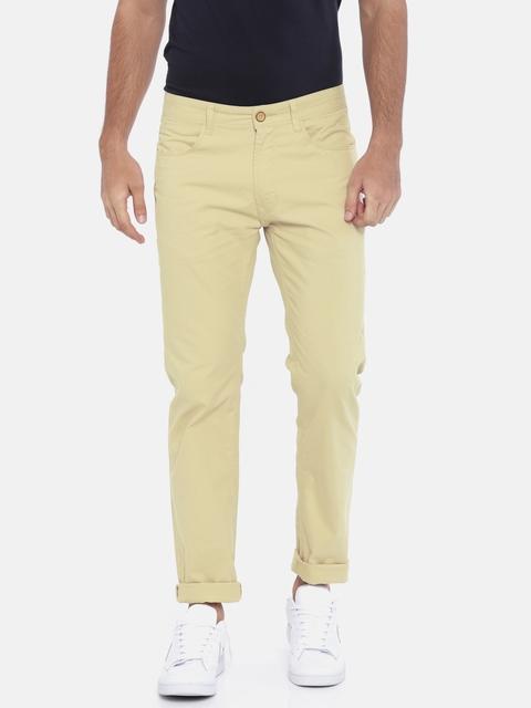 Peter England Casuals Men Beige Super Slim Fit Solid Regular Trousers