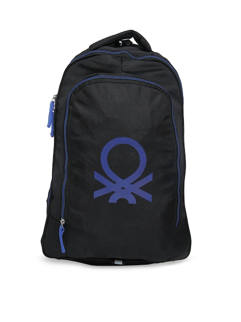 United Colors of Benetton Unisex Black & Blue Solid Backpack