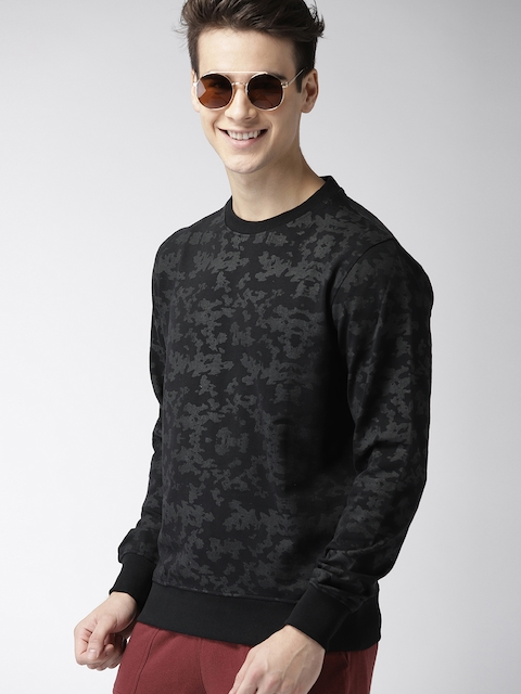 Mast & Harbour Men Black Printed Sweatshirt