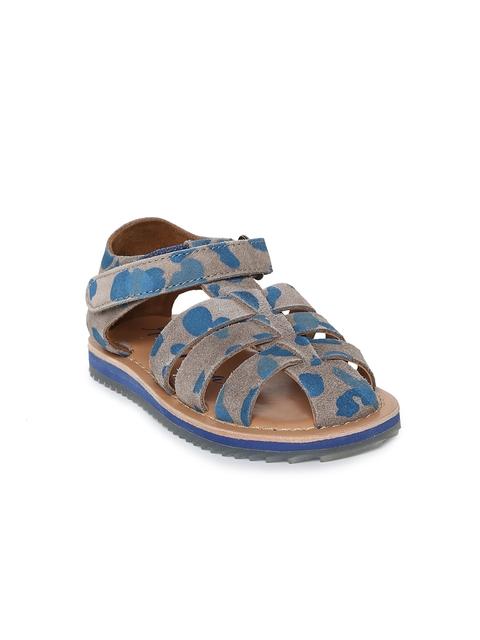 Aria Nica Boys Grey & Blue Army Fisherman Sandals