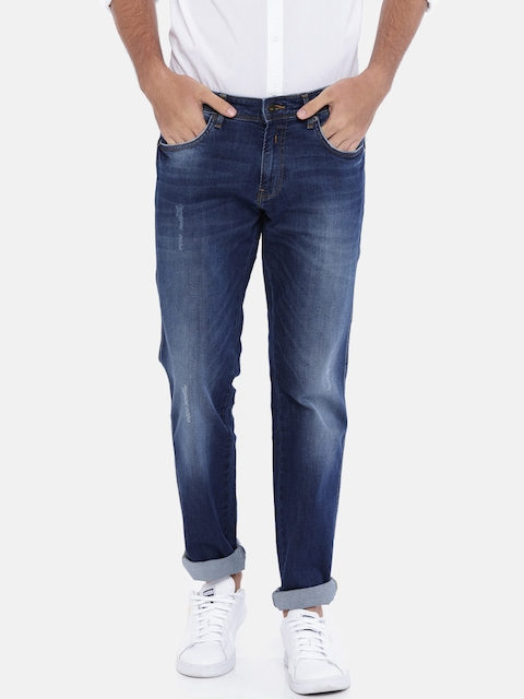 Indian Terrain Men Blue Slim Fit Low-Rise Mildly Distressed Stretchable Jeans