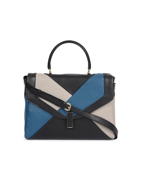 Da Milano Black and Blue Colourblocked Handheld Bag