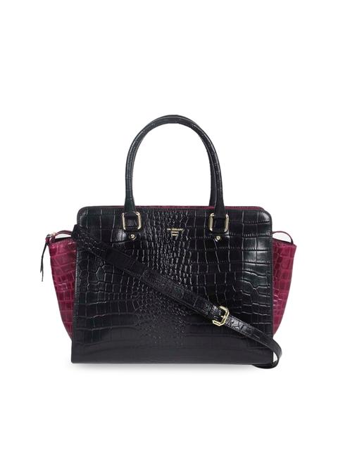 Da Milano Black & Purple Solid Handheld Bag