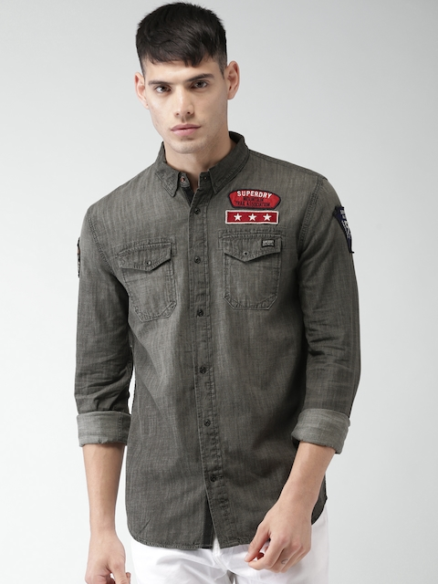 Superdry Men Grey Slim Fit Faded Casual Shirt