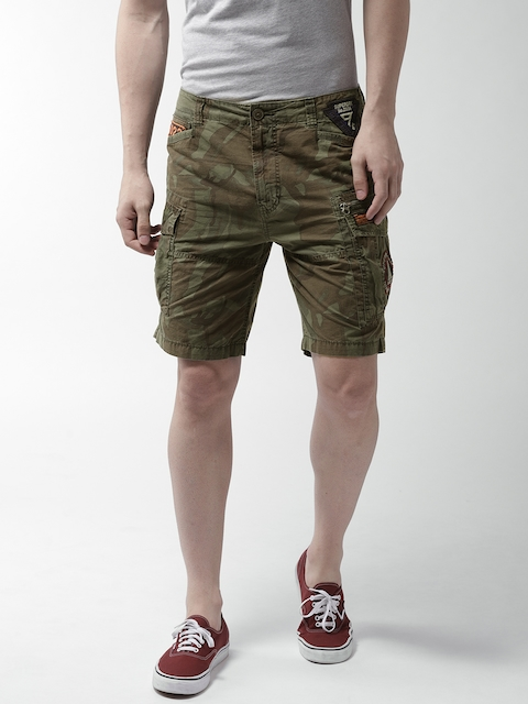 Superdry Men Olive Green Camouflage Print Cargo Shorts