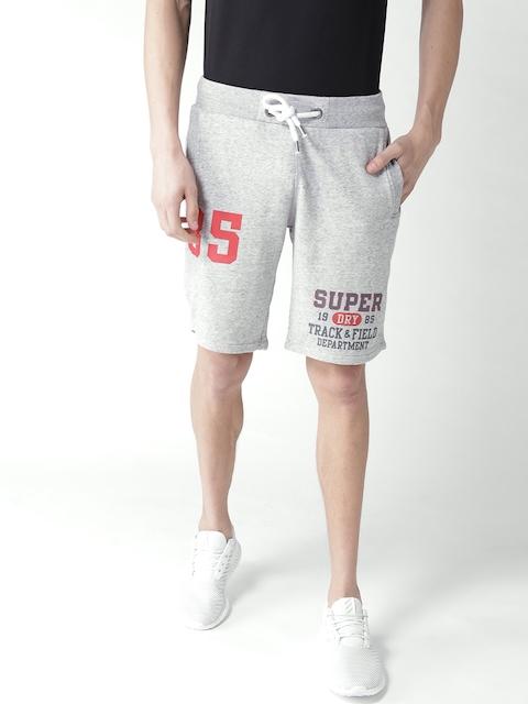 Superdry Men Grey Melange Printed Regular Fit Shorts