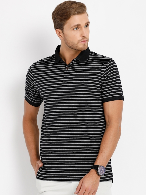 Indian Terrain Men Black Striped Polo Collar T-shirt