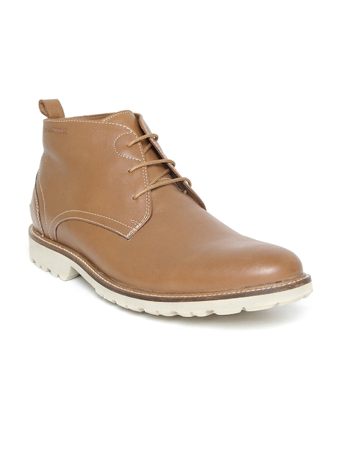 Hush Puppies Men Tan Brown Solid Leather Mid-Top Flat Boots